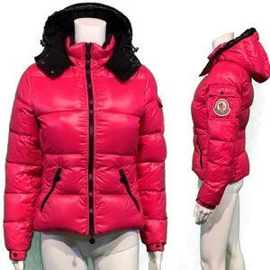 Moncler BADIA Real Down Jacket Hot Pink Puffer
